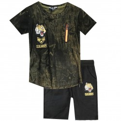 Ensemble sport Tshirt + short patch tigre - Kakhi