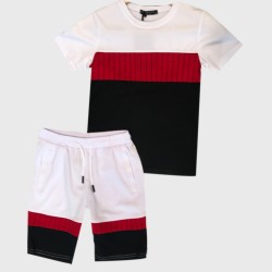 Ensemble sport Tshirt + short tri color - Blanc/rouge/noir