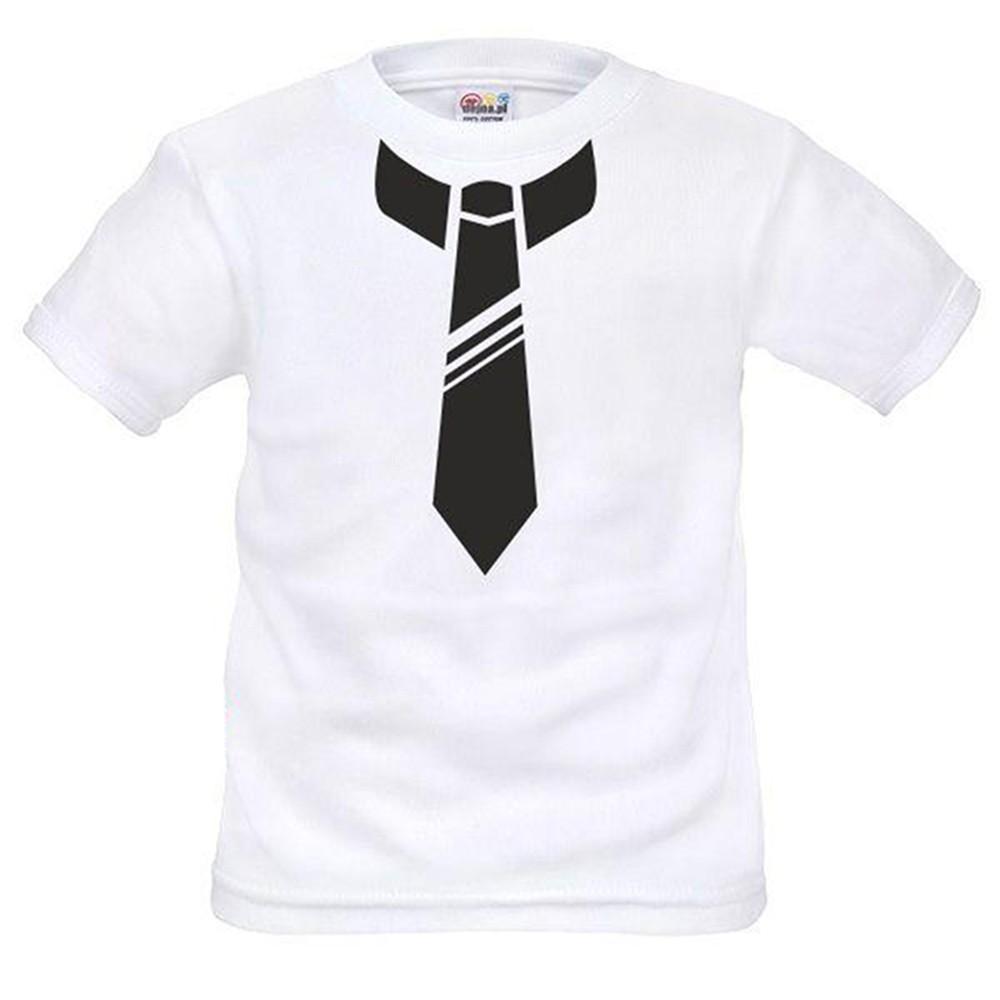 T-shirt garçon blanc manche courte - cravate