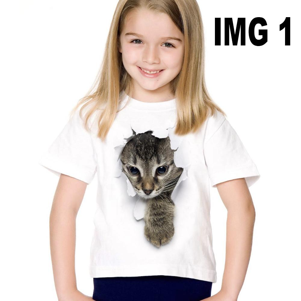 Tshirt enfant pour fille blanc - Chaton