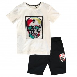 Ensemble sport Tshirt + short patch TETE DE MORT - Blanc