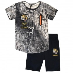 Ensemble sport Tshirt + short patch tigre - Gris