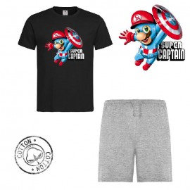Ensemble garçon - T-shirt noir + short gris - Super captain