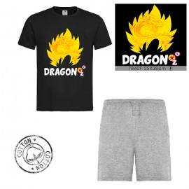 Ensemble garçon - T-shirt noir + short gris -DRAGON Z