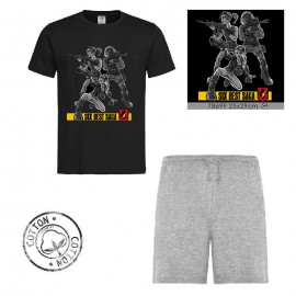 Ensemble garçon - T-shirt noir + short gris - SIXT BEST SAGA