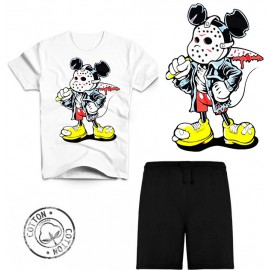 Ensemble garçon - T-shirt blanc + short noir - Mickey trash