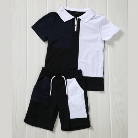 Ensemble sport polo + short - Marine-blanc