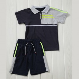 Ensemble sport polo + short - Marine-gris-jaune