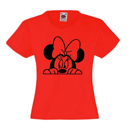 T-shirt fille -tete minnie noeud - rouge