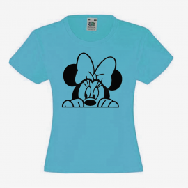 T-shirt fille -tete minnie noeud - beau ciel