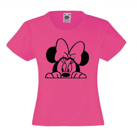T-shirt fille -tete minnie noeud - fuchsia