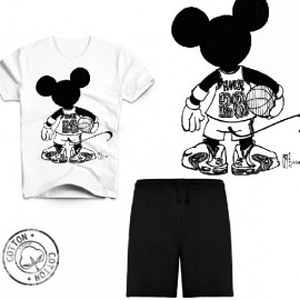 Ensemble garçon - T-shirt blanc + short noir - Mickey hip hop