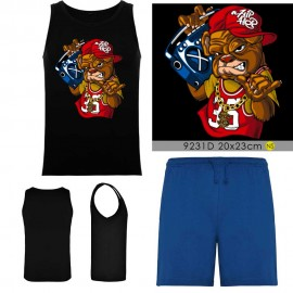 Grossiste set - débardeur noir - short bleu - BULL DOG SWAG