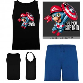 Grossiste set - débardeur noir - short bleu - SUPER CAPTAIN