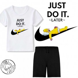 Ensemble garçon - T-shirt blanc + short noir - JUST DO IT LATER