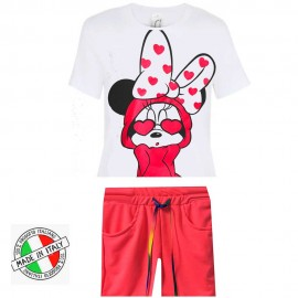 Ensemble t-shirt et short imprimé minnie swagg - Rose fluo