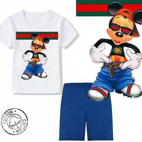 Ensemble garçon - T-shirt blanc + short bleu - Mickey cool boy