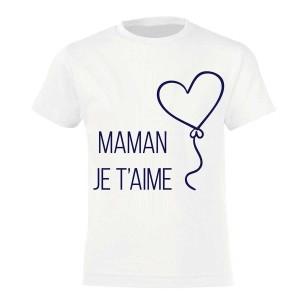 Fete des mere - Tshirt enfant 100% coton- MAman je t'aime ... -4-12 ans - Blanc