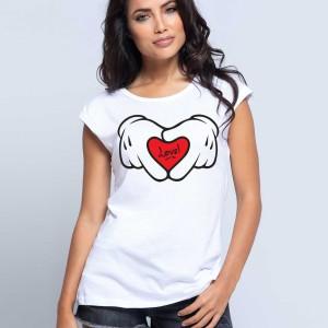 CORCEGA - Tshirt 100% coton imprimé pour femme - Main love