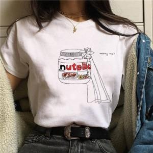 LADY - T-shirt pour les femmes à manches courtes, 100% coton imprimé nutella marry me
