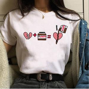 LADY - T-shirt pour femmes manches courtes, 100% coton imprimé nutella peine de coeur