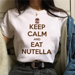 LADY - T-shirt pour femmes manches courtes, 100% coton imprimé keep calm and eat Nutella