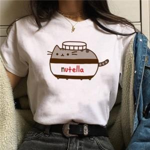 LADY - T-shirt pour femmes manches courtes, 100% coton imprimé - Nutella Chat