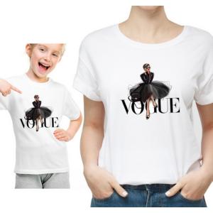 LADY - T-shirt pour femmes manches courtes, 100% coton imprimé - VOGUE TOTAL LOOK BLACK