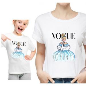 T-shirt filles manches courtes, 100% coton imprimé - Vogue Cendrillon