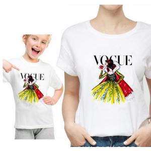 T-shirt filles manches courtes, 100% coton imprimé - Vogue Blanche neige