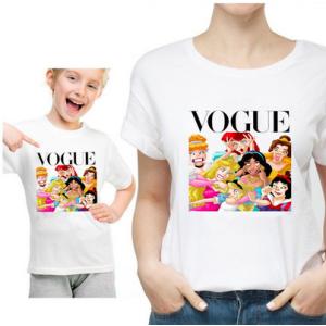 T-shirt filles manches courtes, 100% coton imprimé - Vogue Princesses grimaces