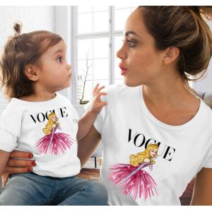 T-shirt filles manches courtes, 100% coton imprimé - Vogue aurore