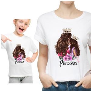 T-shirt filles manches courtes, 100% coton imprimé - Princesse maman fille