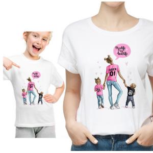 T-shirt filles manches courtes, 100% coton imprimé - Queen Princese Prince