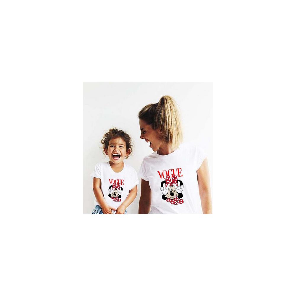 T-shirt filles manches courtes, 100% coton imprimé - M vogue