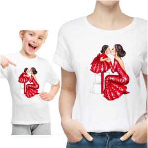 LADY - T-shirt pour femmes manches courtes, 100% coton imprimé - Gala Family