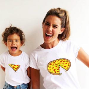 T-shirt filles manches courtes, 100% coton imprimé - Parti Pizza