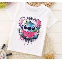 T-shirt filles manches courtes, 100% coton imprimé - stitch ohana