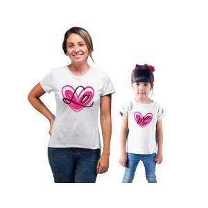 Mere et fille - T-shirt pour femmes ou enfant manches courtes, 100% coton imprimé - lo-ve