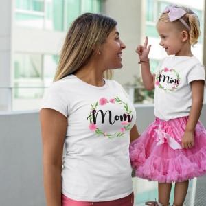 Mere et fille - T-shirt pour femmes ou enfant manches courtes, 100% coton imprimé - mom - mini