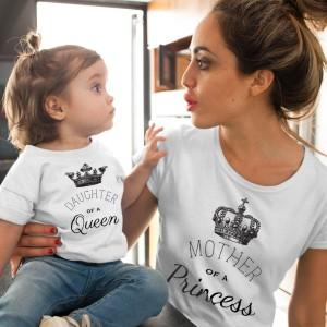 Mere et fille - T-shirt pour femmes ou enfant manches courtes, 100% coton imprimé - Princesse