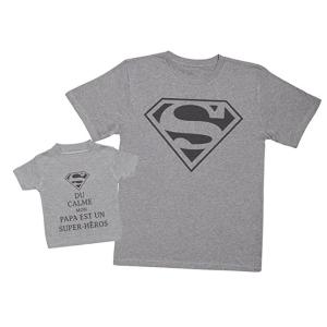 Pere et fils - T-shirt pour homme ou enfant manches courtes, 100% coton imprimé - super hero