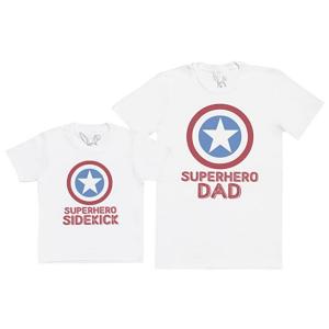 Pere et fils - T-shirt pour homme ou enfant manches courtes, 100% coton imprimé super hero