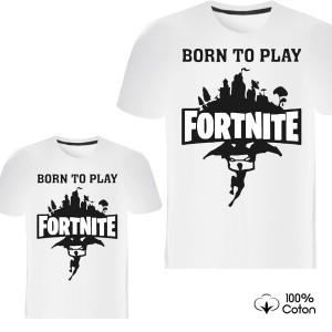 Pere et fils - T-shirt pour homme ou enfant manches courtes, 100% coton imprimé born to play