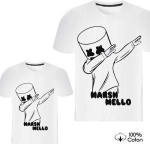 Pere et fils - T-shirt pour homme ou enfant manches courtes, 100% coton imprimé MArsh mello