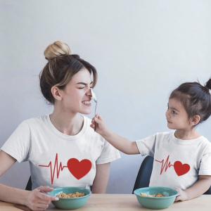 Mere et fille - T-shirt pour femme ou enfant manches courtes, 100% coton imprimé coeur