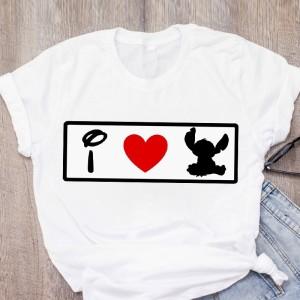 T-shirt filles manches courtes, 100% coton imprimé - I love stch
