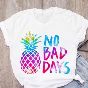 T-shirt filles manches courtes, 100% coton imprimé - no Bad days ananas