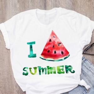 T-shirt filles manches courtes, 100% coton imprimé - I Love summer Pasteque