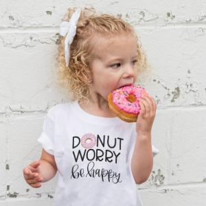 T-shirt filles manches courtes, 100% coton imprimé - Donut worry